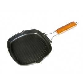 Grill Plancha 28X28Cm Rayas Mango Abatible Aluminio/Fundido  Ecostone Wecook