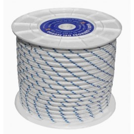 Cuerda Trenzada  06Mm Nylon Blanco/Azul Tipo Driza Hyc 200 Mt