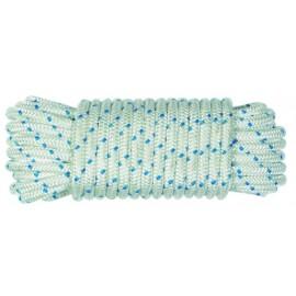 Cuerda Trenzada  06Mm Nylon Blanco/Azul Tipo Driza Hyc 20 Mt