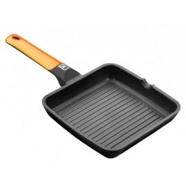 Grill Plancha 28X28Cm Rayas Con Mango Induccion Aluminio/Fundido  Naranja Efficient Bra
