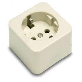 Base Electricidad 54X54X46 Toma tierra 16A-250V Superficie Policarbonato/Porcelana Blanco 2301 Famat