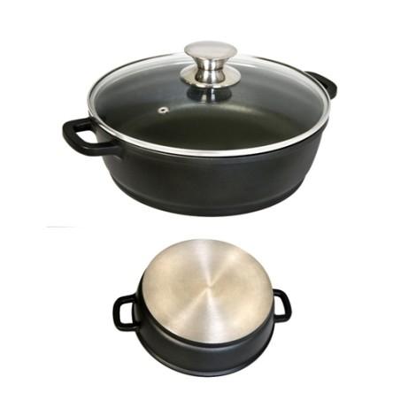 Cacerola Baja 24Cm Con Tapa Aluminio/Fundido Ecostone Cookware