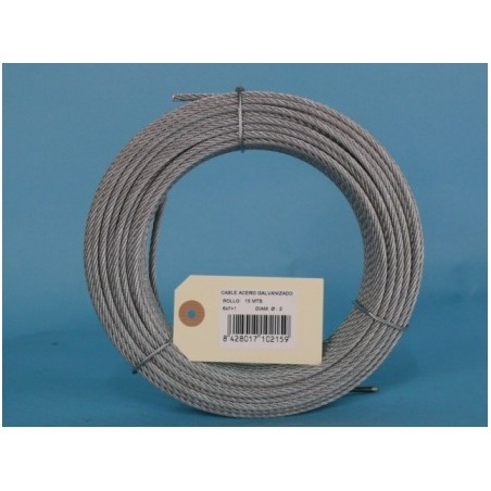 Cable Acero Galvanizado 6X7+1 2Mm Cursol 15 Mt