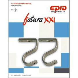 Soporte Barra Cortina 19Mm Techo Metal Niq Futura 21 Epid 2 Pz