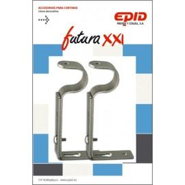 Soporte Barra Cortina 19Mm Exten Metal Niq Futura 21 Epid 2 Pz