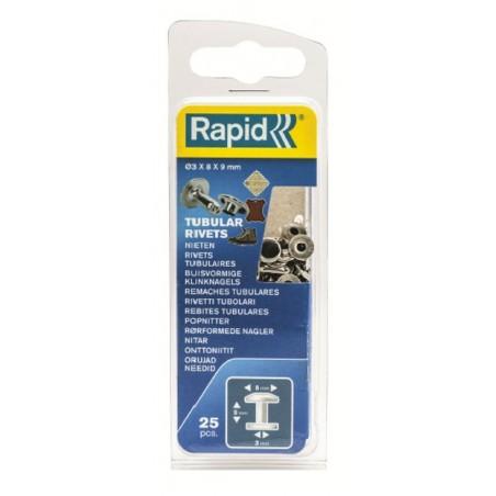 Remache Fijacion Textil-Cuero 3X8X9Mm Tubular Rapid 25 Pz