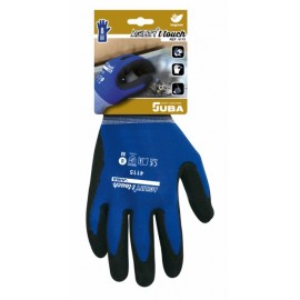 Guante Mecanico M08 Palma Nitrilo-Poliester Touch Agility Nylon Azul/Negro Juba