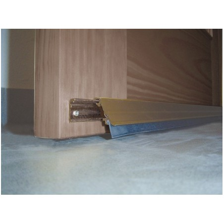 Burlete Bajo Puerta 093Cm Tornillos Interior/Exterior Cepillo Aluminio Marron Basculante Burcasa