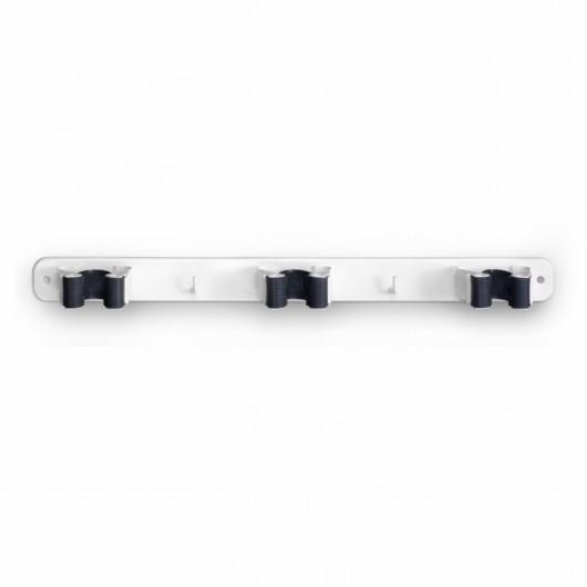 Colgador Escoba 32X370X46Mm Adhesivo Triple Abrazadera Antideslizante Acero Blanco 3034-2+ In