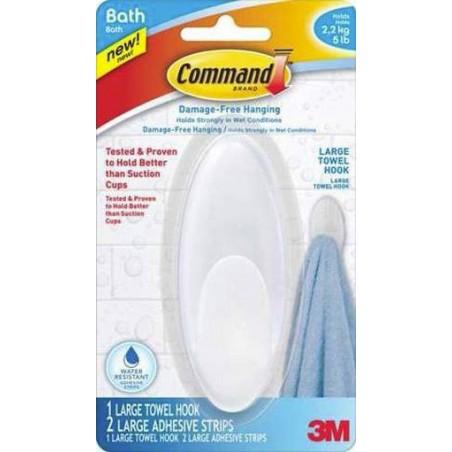 Colgador Hogar Adhesivo ReutilizaBlancoe Toallas Ovalado Plastico Blanco Command 3M